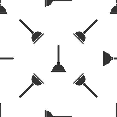 Grey Rubber plunger with wooden handle for pipe cleaning icon isolated seamless pattern on white background. Toilet plunger. Vector Illustration