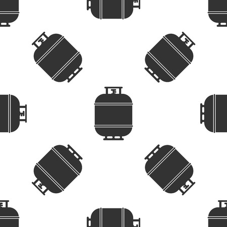Grey Propane gas tank icon isolated seamless pattern on white background. Flammable gas tank icon. Vector Illustration