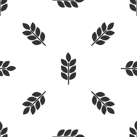 Grey Cereals icon set with rice, wheat, corn, oats, rye, barley sign isolated seamless pattern on white background. Ears of wheat bread symbols. Agriculture wheat symbol. Vector Illustration  イラスト・ベクター素材