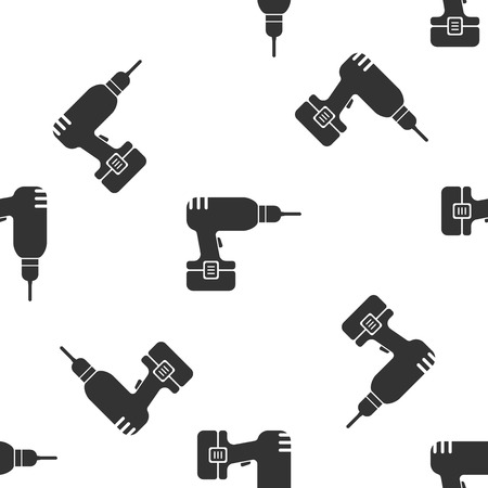 Grey Drill machine icon isolated seamless pattern on white background. Vector Illustration