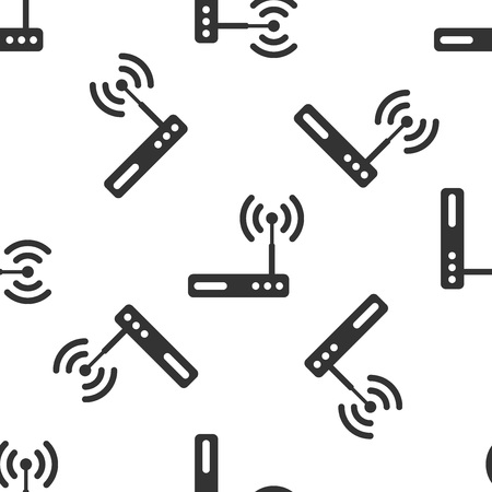 Grey Router and wifi signal symbol icon isolated seamless pattern on white background. Wireless modem router. Computer technology internet. Vector Illustration