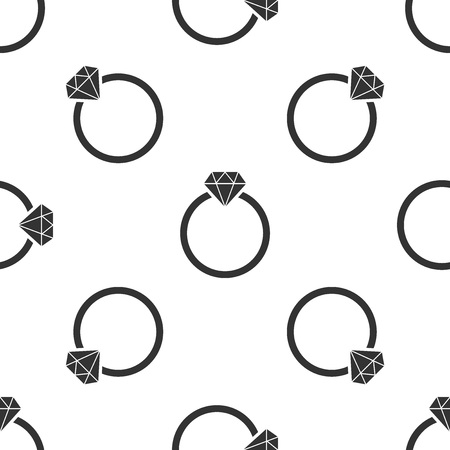 Grey Diamond engagement ring icon isolated seamless pattern on white background. Vector Illustration