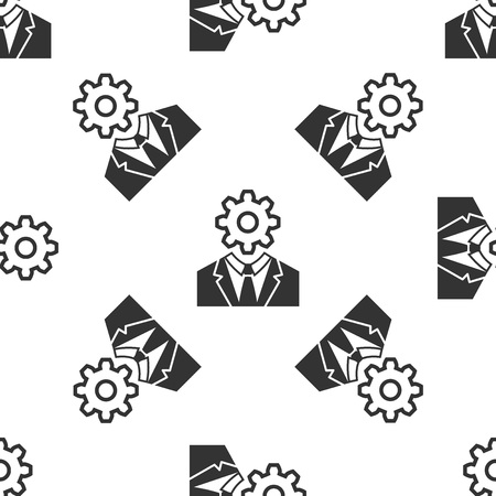 Grey Human head with gear inside icon isolated seamless pattern on white background. Artificial intelligence. Thinking brain sign. Symbol work of brain. Vector Illustration
