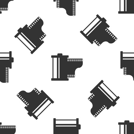 Grey Camera vintage film roll cartridge icon isolated seamless pattern on white background. Film reel icon. 35mm film canister. Filmstrip photographer equipment. Vector Illustration