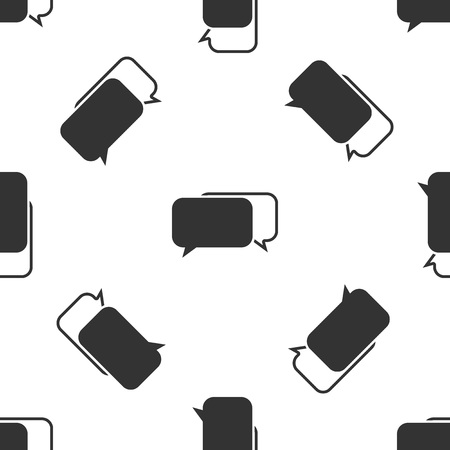 Grey Chat icon isolated seamless pattern on white background. Speech bubbles symbol. Vector Illustration Illustration