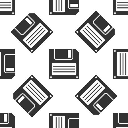 Grey Floppy disk for computer data storage icon isolated seamless pattern on white background. Diskette sign. Vector Illustration Illustration