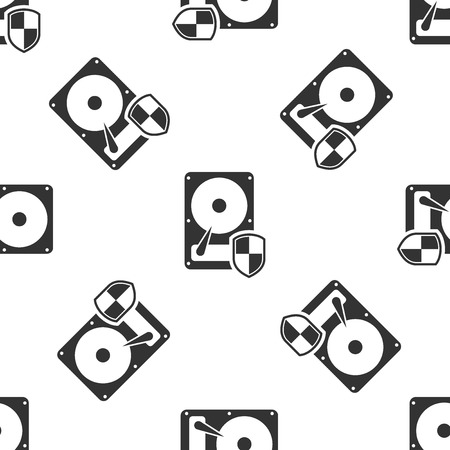 Grey Hard disk drive HDD protection icon isolated seamless pattern on white background. Vector Illustration