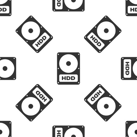 Grey Hard disk drive HDD icon isolated seamless pattern on white background. Vector Illustration