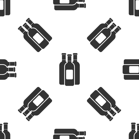 Grey Bottles of wine icon isolated seamless pattern on white background. Vector Illustration