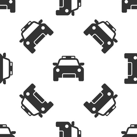 Grey Police car and police flasher icon isolated seamless pattern on white background. Emergency flashing siren. Vector Illustration
