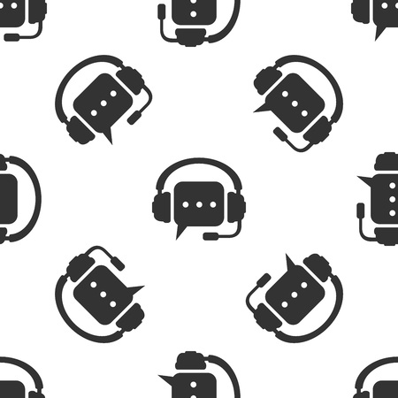 Grey Headphones with speech bubble icon seamless pattern on white background. Support customer services, hotline, call center, guideline, faq, maintenance, assistance. Vector Illustration Vettoriali