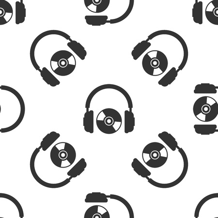 Grey Headphones and CD or DVD icon isolated seamless pattern on white background. Earphone sign. Compact disk symbol. Vector Illustration