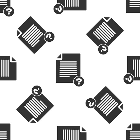 Grey Unknown document icon isolated seamless pattern on white background. File with Question mark. Hold report, service and global search sign. Vector Illustration
