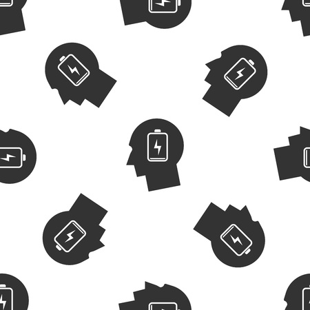 Grey Male head with low battery icon isolated seamless pattern on white background. Tired man. Vector Illustration