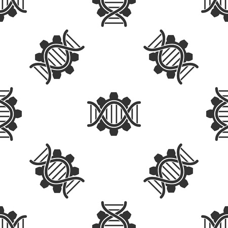 Grey Genetic engineering icon isolated seamless pattern on white background. DNA analysis, genetics testing, cloning, paternity testing. Vector Illustration