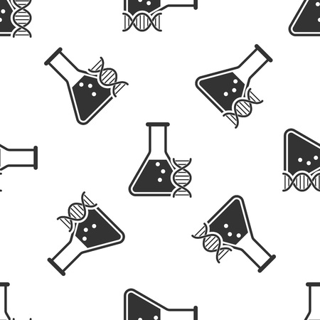 Grey DNA research, search icon isolated seamless pattern on white background. Genetic engineering, genetics testing, cloning, paternity testing. Vector Illustration