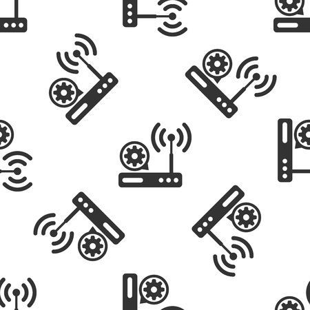 Grey Router and wifi signal and gear icon isolated seamless pattern on white background. Adjusting app, service concept, setting options, maintenance, repair, fixing. Vector Illustration Illustration