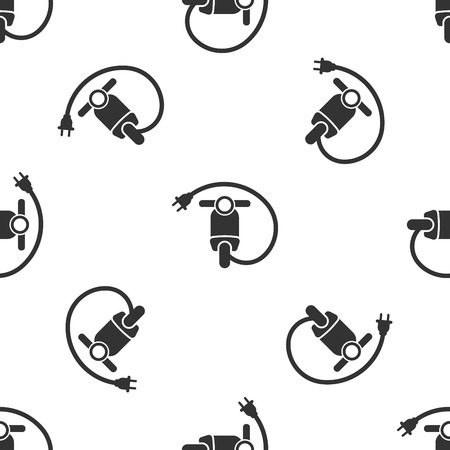 Grey Electric scooter icon isolated seamless pattern on white background. Vector Illustration