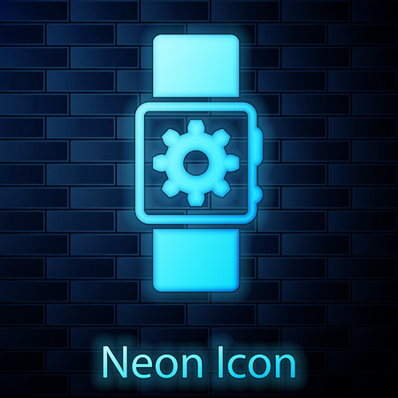 Glowing neon Smartwatch setting icon isolated on brick wall background. Smart watch settings. Vector Illustration