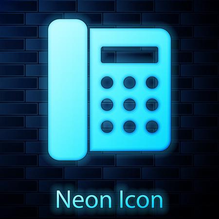 Glowing neon Telephone icon isolated on brick wall background. Landline phone. Vector Illustration Illustration