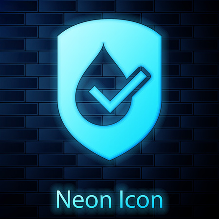Glowing neon Waterproof icon isolated on brick wall background. Water resistant or liquid protection concept. Vector Illustration Vectores