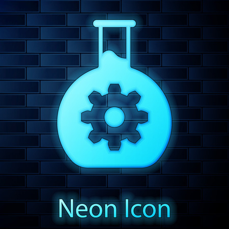 Glowing neon Bioengineering icon isolated on brick wall background. Element of genetics and bioengineering icon. Biology, molecule, chemical icon. Vector Illustration Vettoriali