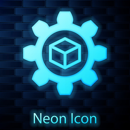 Glowing neon Product development icon isolated on brick wall background. Gear and cube. Product development symbol design from Startup collection. Vector Illustration