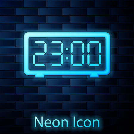 Glowing neon Digital alarm clock icon isolated on brick wall background. Electronic watch alarm clock. Time icon. Vector Illustration