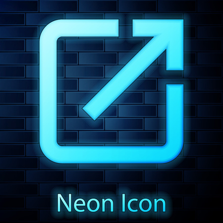 Glowing neon Open in new window icon isolated on brick wall background. Open another tab button sign. Browser frame symbol. External link sign. Vector Illustration Illustration