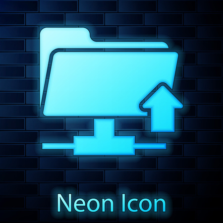 Glowing neon FTP folder upload icon on brick wall background. Concept of software update, transfer protocol, router, teamwork tool management, copy process. Vector Illustration Illustration