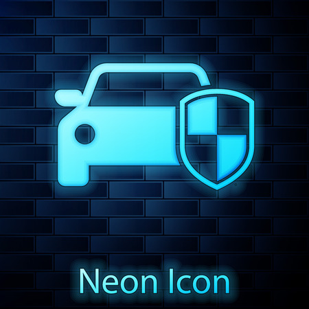 Glowing neon Car protection or insurance icon isolated on brick wall background. Protect car guard shield. Safety badge vehicle icon. Security auto label. Vector Illustration Çizim