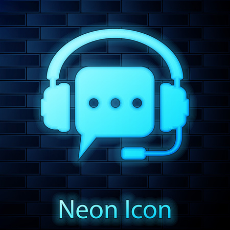 Glowing neon Headphones with speech bubble icon on brick wall background. Support customer services, hotline, call center, guideline, faq, maintenance, assistance. Vector Illustration