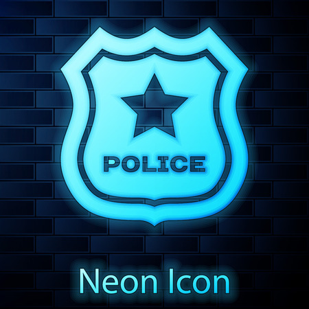 Glowing neon Police badge icon isolated on brick wall background. Sheriff badge sign. Vector Illustration Illustration