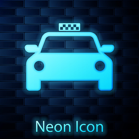 Glowing neon Taxi car icon isolated on brick wall background. Vector Illustration