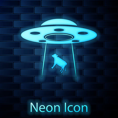 Glowing neon UFO abducts cow icon isolated on brick wall background. Flying saucer. Alien space ship. Futuristic unknown flying object. Vector Illustration Illustration