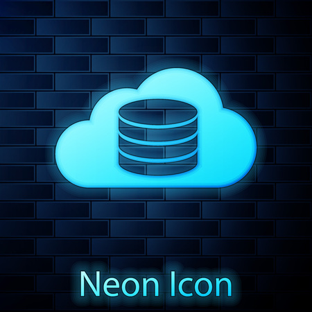 Glowing neon Cloud database icon isolated on brick wall background. Cloud computing concept. Digital service or app with data transferring. Vector Illustration