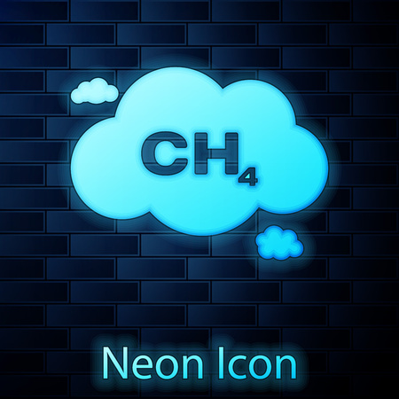 Glowing neon Methane emissions reduction icon isolated on brick wall background. CH4 molecule model and chemical formula. Marsh gas. Natural gas. Vector Illustration Foto de archivo - 120355670