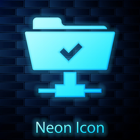 Glowing neon FTP operation successful icon on brick wall background. Concept of software update, transfer protocol, teamwork tool management, copy process. Vector Illustration Illusztráció