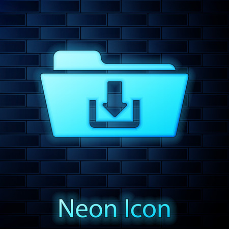 Glowing neon Folder download icon isolated on brick wall background. Vector Illustration
