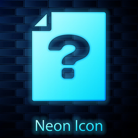 Glowing neon Unknown document icon isolated on brick wall background. File with Question mark. Hold report, service and global search sign. Vector Illustration