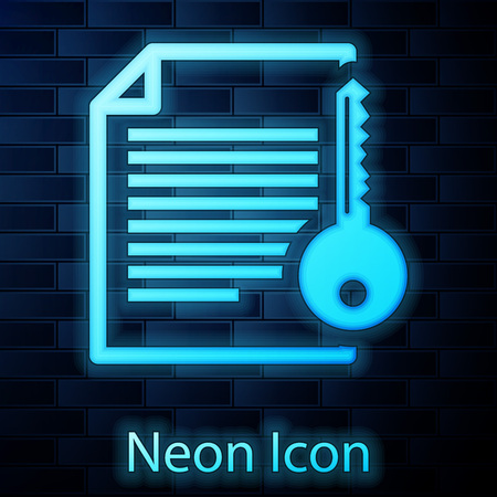 Glowing neon Smart contract icon isolated on brick wall background. Blockchain technology, cryptocurrency mining, bitcoin, altcoins, digital money market. Vector Illustration Illustration