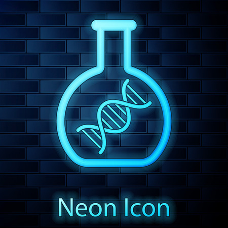 Glowing neon DNA research, search icon isolated on brick wall background. Genetic engineering, genetics testing, cloning, paternity testing. Vector Illustration