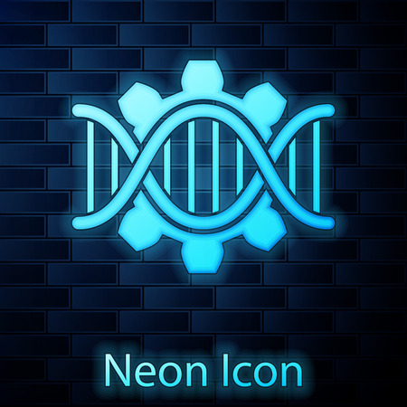 Glowing neon Genetic engineering icon isolated on brick wall background. DNA analysis, genetics testing, cloning, paternity testing. Vector Illustration