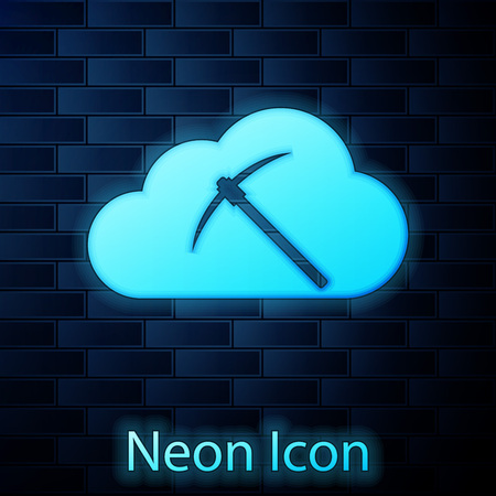 Glowing neon Cryptocurrency cloud mining icon isolated on brick wall background. Cloud with pickaxe, bitcoin, altcoins, digital money market, cryptocoin wallet. Vector Illustration