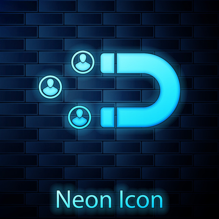 Glowing neon Customer attracting icon isolated on brick wall background. Customer retention, support and service. Customer people attracting with magnet. Vector Illustration