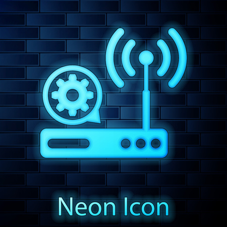 Glowing neon Router and wi-fi signal and gear icon isolated on brick wall background. Adjusting app, service concept, setting options, maintenance, repair, fixing. Vector Illustration
