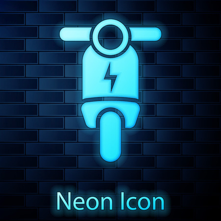 Glowing neon Electric scooter icon isolated on brick wall background. Vector Illustration