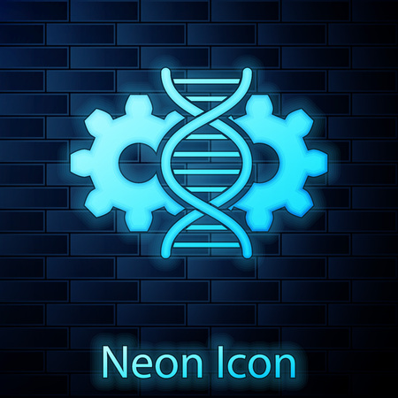 Glowing neon Gene editing icon isolated on brick wall background. Genetic engineering. DNA researching, research. Vector Illustration