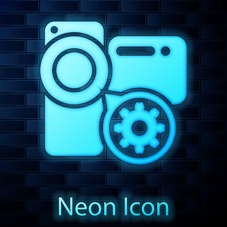 Glowing neon Video camera and gear icon isolated on brick wall background. Adjusting app, service concept, setting options, maintenance, repair, fixing. Vector Illustration Иллюстрация