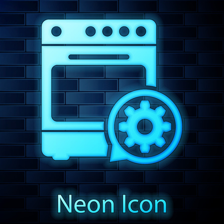 Glowing neon Oven and gear icon isolated on brick wall background. Adjusting app, service concept, setting options, maintenance, repair, fixing. Vector Illustration